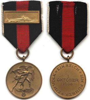 """Медаль """"В память 1 октября 1938"""" с Пражским замком на ленте"""