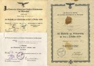 """Варианты наградных бланков к медали """"В память 1 октября 1938"""""""