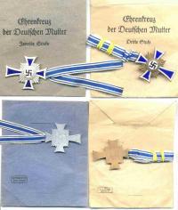 Варианты конвертов для Креста немецкой матери в бронзе и серебре