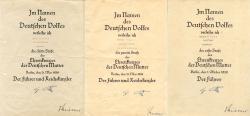 Варианты наградных документов на Крест немецкой матери брозовой, серебрянной и золотой степени