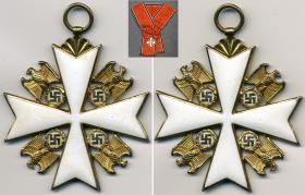 Большой Золотой Крест Ордена немецкого Орла без мечей. К нему полагалась красная лента с более широкими черными полосами по краям (частная коллекция)