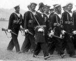 Подразделение албанских морских сил на параде по случаю 1-й годовщины монархии, состоявшимся в октябре 1929 года