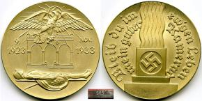 Настольная медаль «В память 10-летия событий 9 ноября 1923 года», золото (частная коллекция)