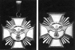 """Нашейный и нагрудный вариант знака """"За долгую службу в НСДАП"""" (изображения из каталога Хартинга)"""