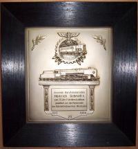 Наградная плакетка за 25 лет выслуги 1938 года, выдана в Висбадене (Wiesbaden)
