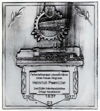 Прорисовка наградной плакетки за 25 лет выслуги 1937 года, старого типа, выдана в Ноймюнстере (Neumünster)