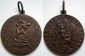 Памятная медаль от «основного подрядчика», фирмы Грюн и Бильфингер, за строительство Западного защитного вала. 1938 год