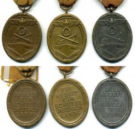 Основные типы медали «За сооружение Атлантического вала» - из бронзированной латуни, бронзированного цинка и цинка без покрытия
