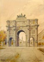 Триумфальная Арка в Мюнхене (Siegestor). Акварель написана Адольфом Гитлером в 1913 году