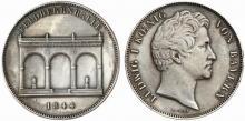 Двойной талер 1844 года с изображением Фельдхеррнхалле на одной стороне и королём Людвигом I на другой. Бавария
