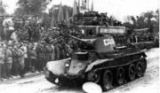 БТ-7 на параде в честь победы над Японией в г.Ворошилов-Уссурийский. 16 сентября 1945 г.