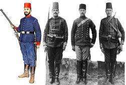 Турецкие солдаты (аскеры): пехотинец, артиллерист, кавалерист, водонос.