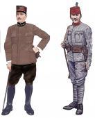 Полковник и рядовой албанской армии в форме образца 1913 года