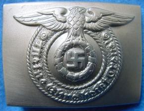 Пряжка нижних чинов СС «Толстый орёл» изготовленная в никелевом сплаве
