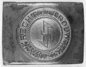 Пряжка членов «Чёрных бригад» – штурмовых отрядов СС фламандского национального союза (VNV)