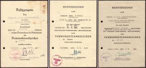 """Наградные листы первого (готического) и второго типа на знаки за ранение всех, трёх, степеней. Выданы на одного человека - Gerhard Mahn - командира 11-ой роты 9-го танково-гренадерского полка """"Германия"""", в составе 5-ой танковой дивизии СС """"Викинг"""""""