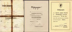 Нетиповые варианты наградных листов на знаки за ранение, как правило выдаваемые в боевых частях или в лазаретах, включая редкий, выданный в СС