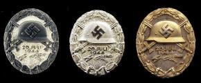 Знаки «За ранение 20 июля 1944 года» чёрный, серебряный и золотой