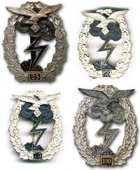 """Реплика возможных знаков """"За наземный бой Военно-воздушных сил"""" с количеством боёв 25, 50, 75, 100"""