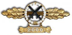 Реплика золотой с бриллиантами планки штурмовой авиации Люфтваффе с подвеской 2000
