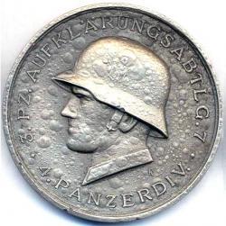 Памятная медаль 3-й роты 7-го танкового разведывательного подразделения 4-ой танковой дивизии