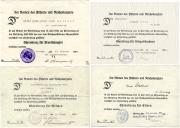 Четыре типа наградных документов на Почётный крест за мировую войну 1914-1918