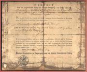 """Документ на Железный крест 2-й степени образца 1813 года врученный в 1816 году унтер-офицеру Gottlieb Nitschke, из 68-ой батареи №13, 12-го батальона королевской тяжёлой артиллерии, за выдающуюся храбрость в битве при Лейпциге, вошедшим в историю как """"Битва народов"""""""