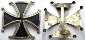 Разновидность офицерского Кульмского креста частного изготовления. Способ крепления – булавка
