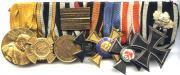 Колодка с медалями. Последней стоит Железный крест 2-й степени с юбилейными Дубовыми листьями