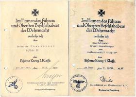 Наградной лист на Железный крест 2-й и 1-й степени 1939 года