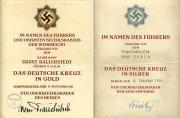 Наградные листы на Германский крест в Золоте и Серебре