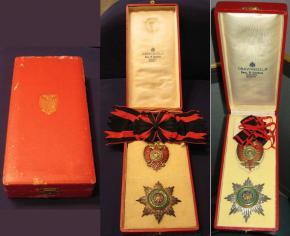 Звезда и Знак ордена Скандерберга королевства Албании разных степеней