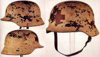 Зимний камуфляжный окрас на шлеме медика, Вторая мировая война